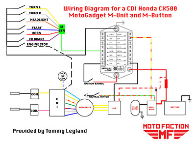 motogadget m-unit and m-button wiring schematic for a honda cx500, Wiring diagram